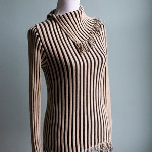 Fringe Black/Beige Striped Sweater w/ High Collar